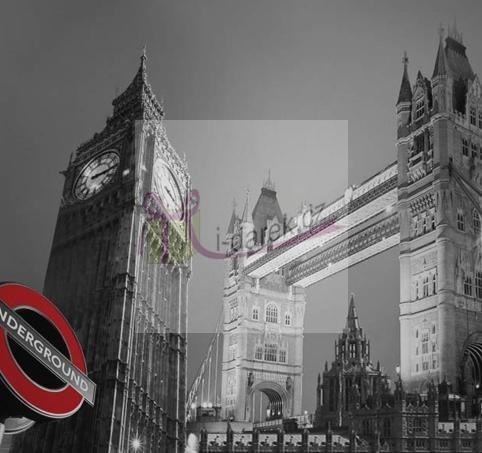 Korkové prostírání malé 10,5x10,5cm sada 4ks-Londýn Tower Bridge