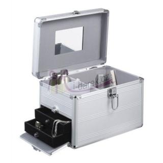 Šperkovnice a kosmetický hliníkový stříbrný kufřík