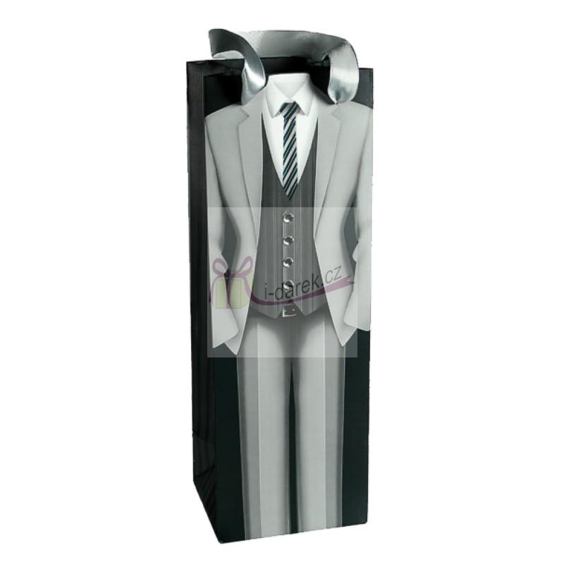 Luxusní papírová dárková taška - světlý oblek