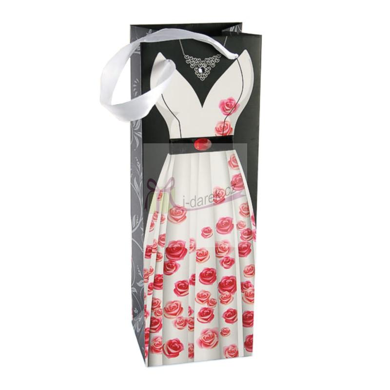 Luxusní papírová dárková taška - bílé šaty s růžemi