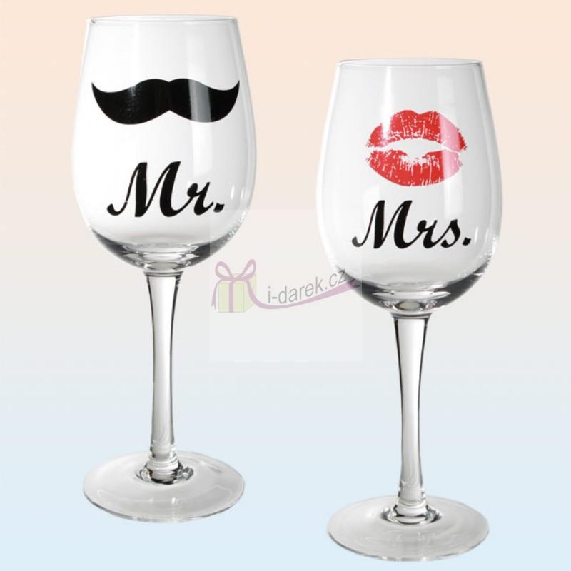 Set 2 obří skleničky na víno - Mr. and Mrs.