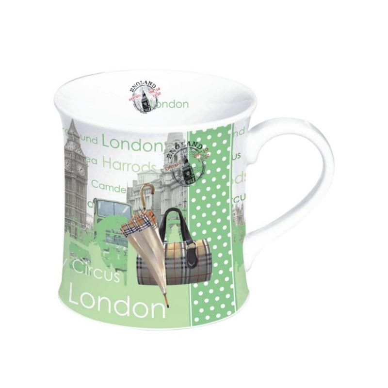 Porcelánový hrnek v boxu zelený - Londýn